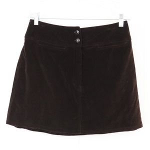 Vintage Express brown velvet mini skirt size 7 / 8